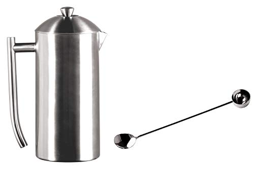 Frieling French Press Coffee Maker 36-oz Brushed Finish and Extra 1-Tablespoon Coffee Scoop and Stirrer, 18/10 Stainless…
