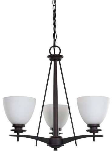 Canarm ICH256A03ORB New Yorker 3-Light Chandelier, Flat Opal Glass and Oil Rubbed Bronze