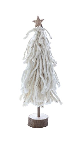 Heart of America Wool Tree On Wood Slice With Star Cream - 2 Pieces by Heart of America (Image #1)