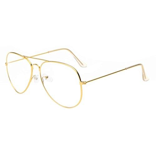 QingFan Men's Or Women's Aviator Classic Retro Clear Lens Circle Glasses Metal Frame (Gold, - For Aviator Round Face Glasses