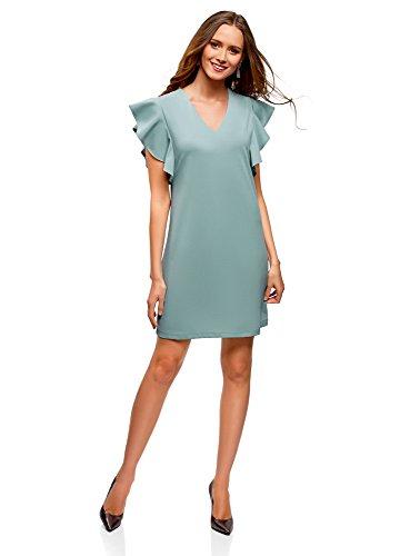 oodji Ultra Femme Robe en Maille Manches Ailettes Bleu (7000n)