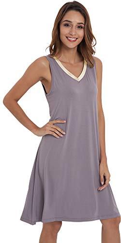 GYS Womens Bamboo Viscose Sleeveless V Neck Nightgown (XL, Purplish Grey Gold) ()