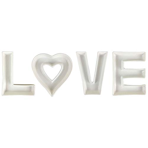 Just Artifacts 5.5inch White Ceramic Letter Dish Set - Letters: LVE w/Heart - Decorative Dishes for Weddings, Anniversary, Baby Showers, Birthday Parties, and Life Celebrations!