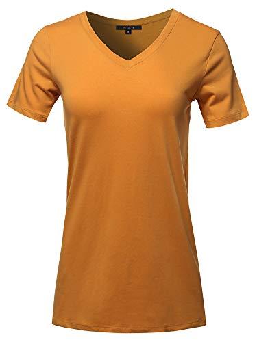 Basic Solid Premium Cotton Short Sleeve V-Neck T Shirt Tee Tops D Mustard 3XL