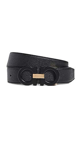 Salvatore Ferragamo Men's Double Gancini Reversible Belt, Nero Nero, Black, 32 (Reversible Double Gancini Calfskin Leather Belt Salvatore Ferragamo)