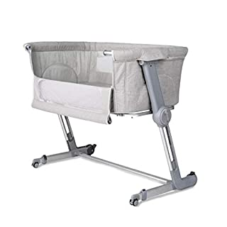 """Unilove Hug Me Plus, Bedside Sleeper, Baby Bassinet, Portable Crib Includes Travel Bag, 1.2"""" Firm Mattress, Breathable Sheet and 7 Height Adjustable, Shadow Grey"""