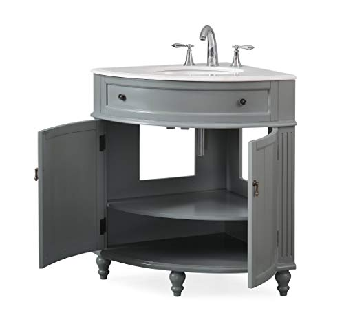 24 Thomasville Gray Modern Slim Corner Bathroom Sink