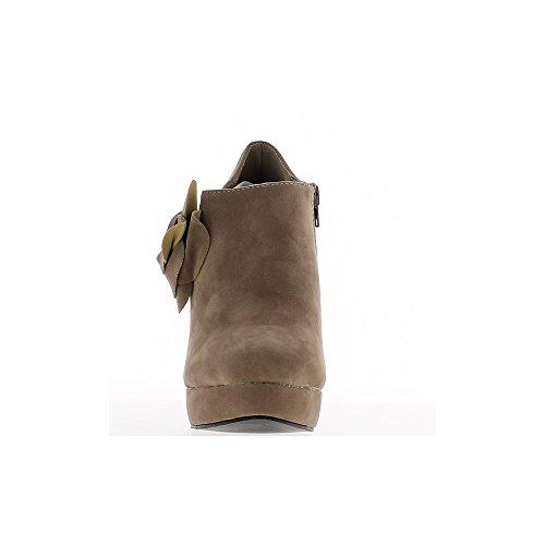Richelieux femme taupe à talons de 12cm et plateforme