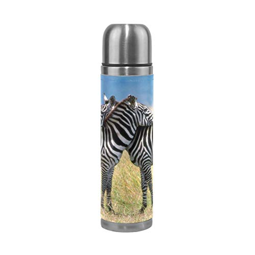 Water Bottle Zebras Love Sports Insulated Stainless Steel Water Bottles Leak Proof Double Wall Thermos Leather Cover 17 Oz 500ml (Stanley 24 Oz Utility Ss Water Bottle)