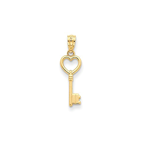 - 14k Yellow Gold Heart Key Pendant Charm Necklace Love Fine Jewelry Gifts For Women For Her
