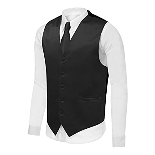 Azzurro Mens Dress Vest Set Neck Tie, Hanky for Suit or Tuxedo Black XL