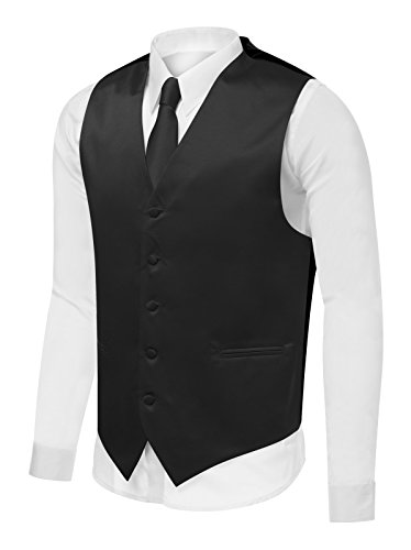 Azzurro Men's Dress Vest Set Neck Tie, Hanky for Suit or Tuxedo, Black V1 , X-Large