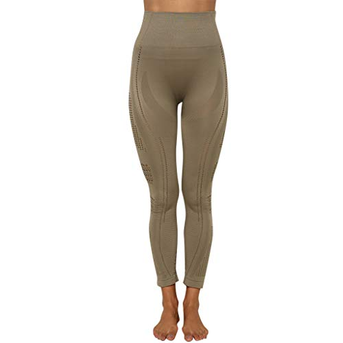 FONMA Women Seamless Solid Yoga Sports Tight Pants Hips High Waist Thread Trousers ()