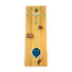 Cedar Pendulum Wall Clock in Blue, Wood Wall Art, Personalize Clock, Long Wall Clock