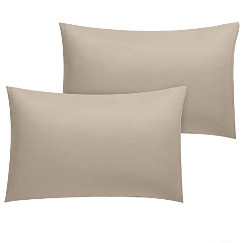 uxcell Pillowcase 2 Pack Luxury 1800 Bedding Brushed Microfiber Pillow Cases Standard Size Wrinkle, Fade, Stain Resistant, Khaki Pillowcases Covers