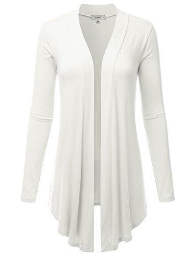 LALABEE Women's Draped Open-Front Long Sleeve Light Weight Cardigan-Ivory-M -