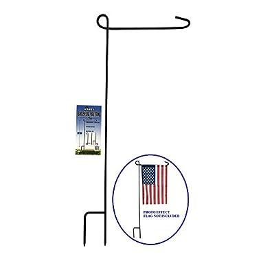 KINREX Garden Flag Stand - Garden Flag Pole - Flag Holder - 35  Tall x 15.5  Wide - Black Metal 3 Piece Set