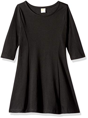 Crazy 8 Girls' Big Long Sleeve Casual Knit Dress, Ebony, -