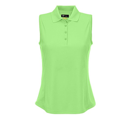 Greg Norman Sleeveless Protek Micro Pique Golf Polo 2017 Women Island Green Small (Golf Pique Polo Womens)