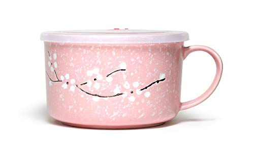Microwavable Ceramic Noodle Bowl with Handle and Seal Fine Porcelain Sakura Snow Flake Floral Design (BlossomPink) (Pink Microwaveable Bowl)