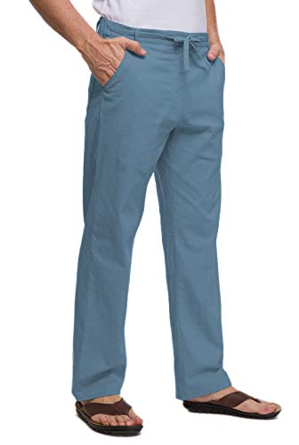 Janmid Men Casual Beach Trousers Linen Summer Pants Denim Blue S