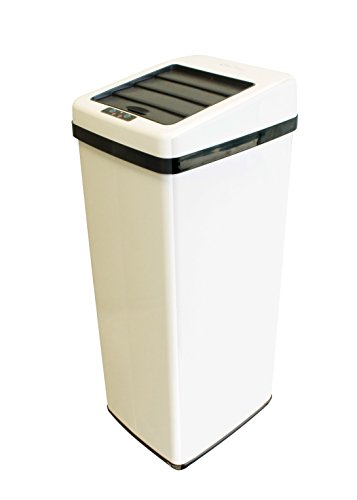 iTouchless Sliding Lid Automatic Touchless Sensor Trash Can – 14 Gallon / 52 Liter – White – Kitchen Trash Can White Steel Rectangular Trash Can