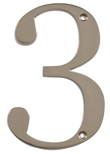 Nickel 3 Address Numbers - Distinctions by Hillman 843323 4-Inch Brushed Nickel Flush-Mount House Number 3