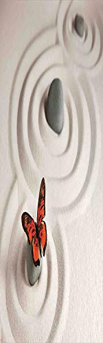 (Butterflies 3D Decorative Film Privacy Window Film No Glue,Frosted Film Decorative,Zen Rock on the Sand Butterfly Serenity Life Cycle Nature Meditation Decor,for Home&Office,23.6x70.8Inch Beige)