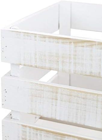Decowood - Pack 3 Cajas Grande en Madera de Pino Decapado, Blanco Vintage - 49 x 30,5 x 25,5 cm: Amazon.es: Hogar