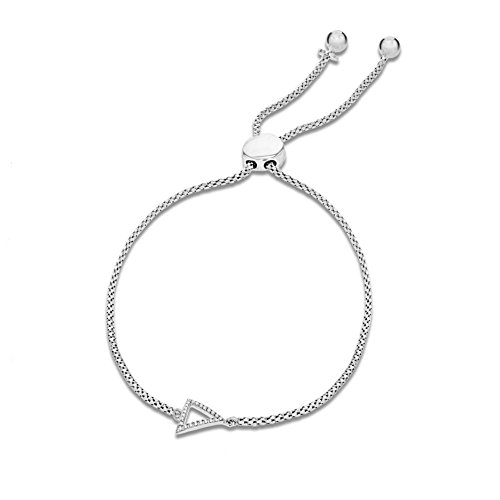 Pavé Privé Chaîne pour femme en argent sterling 925rond blanc diamants triangle Bolo Charme Bracelet