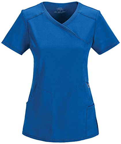Cherokee Women's Infinity Mock Wrap Scrubs Shirt, Royal, - Wrap Mock
