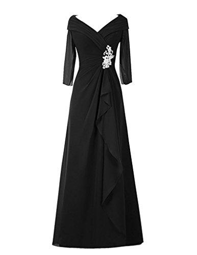 Cdress Perles V-cou Mère En Mousseline De Soie Manches Longues Des Robes De Mariée Robes De Bal Noir