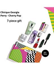 Clinique 7PC Cosmetic Gift Set Georgia Perry Bag/Cherry Pop New&Sealed $70Value!