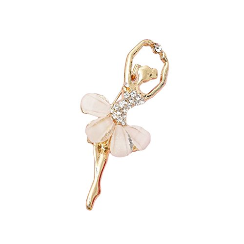 (Red Cube Fashion Women Jewelry Ballerina Girl Ballet Dancer Gold Crystal Rhinestone Brooch Pin (Ballerina))