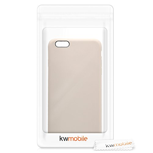 kwmobile TPU Silicone Case Compatible with Apple iPhone 6 Plus / 6S Plus - Soft Flexible Rubber Protective Cover - Beige Matte