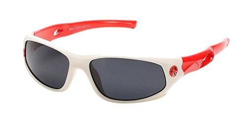 XFentech Unisexe Enfants Lunettes de Soleil Polarisées pour Garçons & Filles Monture en caoutchouc flexible Sport Lunettes Blanc/Rouge