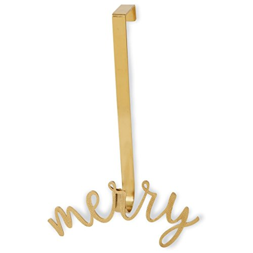 Mud Pie H7 Christmas Holiday Sentiment Wreath Hanger 5x11in - 4265421 (Gold) by Mud Pie