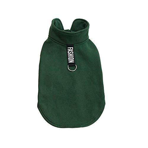(Lookvv Windproof British Style Plaid Dog Vest Winter Coat Warm Dog Apparel for Cold Weather Dog Jacket Green)