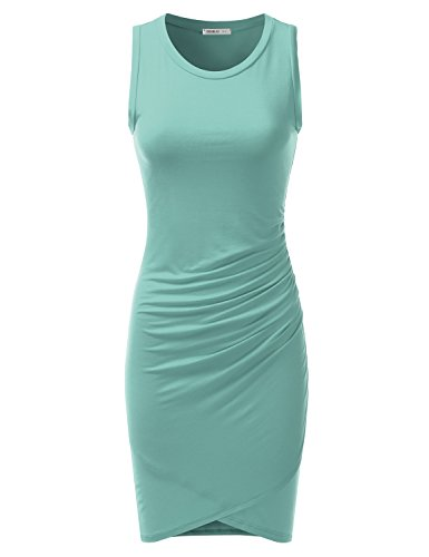 Doublju Stretchy Fitted Tulip Hem Tank Dress for Women with Plus Size (Made in USA) DUSTYAQUA X-Large (Perfect Ruched Dress)