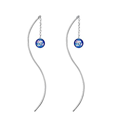 hot sell BriLove Women 925 Sterling Silver Bohemian Boho Crystal Curved Pin Slide Threader Earrings save more
