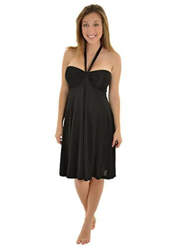 Womens Black Bandeau Dress with Convertible Straps Halter or Strapless Sizes: Large - Little Black Convertible Dress