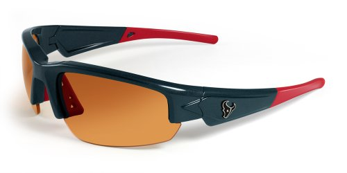 (NFL Houston Texans Dynasty Sunglasses with Bag, Blue/Red)