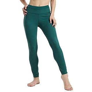 Rataves Womens Workout Tummy Control Legging Hight-Waist Mesh Plus Size 4 Way Yoga Leggings with Pockets Athletic Soft Yoga Pants M Dark Green