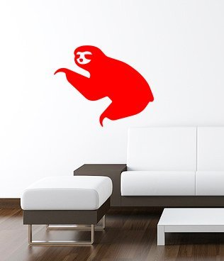 Sloth Wall Art Decal 16&Quot;X13&Quot; Red -