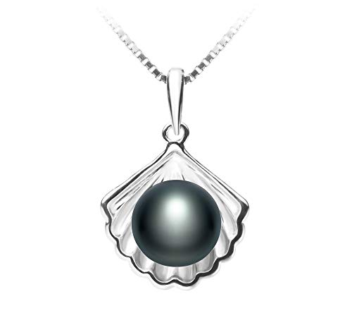 Shell Black 7-8mm AA Quality Freshwater 925 Sterling Silver Cultured Pearl Pendant For Women ()
