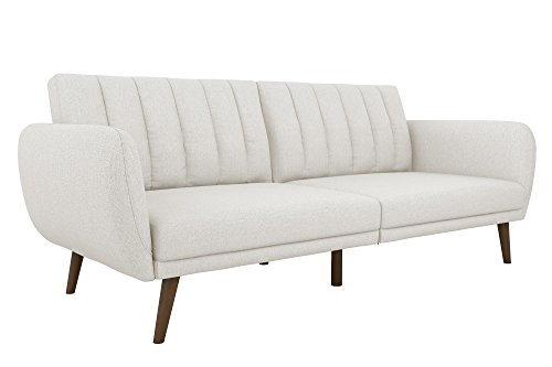 Novogratz Brittany Sofa Futon, Premium Linen Upholstery and Wooden Legs, Grey Linen (Living Fabric Room Bed)