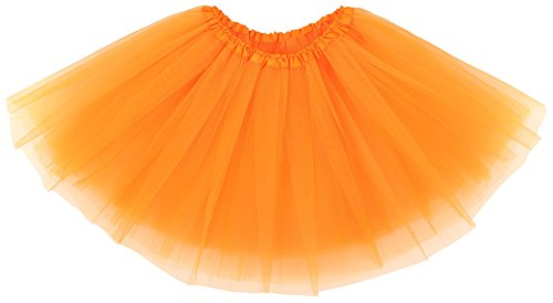 Simplicity Women's Classic Elastic 3 Layered Tulle Ballet Tutu Skirt, Orange ()