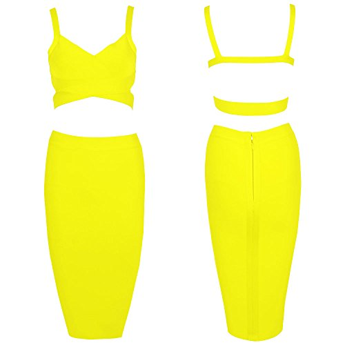 Color Bandage Pure HLBandage Piece Women Set 2 Knee Length Gelb Dress xn7gnR