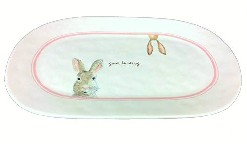 Rae Dunn Pottery Magenta Artisan Collection Home Decor Serving Platter Tray Holder Ceramic Plate Gone Hunting Bunny Easter Holiday Collection
