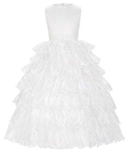 ylovego Round Neck White Champagne Sleeveless Flower Girl Princess Dress 2018 Layers Wedding Pageant Party (Princess Leia Wedding Dress)